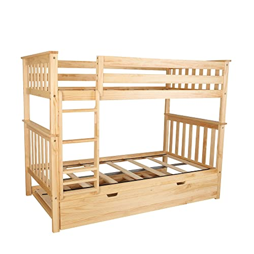Max Lily Solid Wood Twin over Twin Bunk Bed with Trundle Bed, Natural