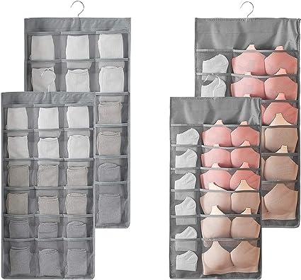 Bolsa de Almacenamiento de Ropa Organizador de Armario para Ropa Interior Colgante de Doble Cara 5+10 Bolsillos para calcetines Sujetador Ropa interior Corbatas Bolsas para ahorrar espacio.