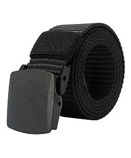 PARVENZA Hombre Cinturones de Nylon Cinturón Casual Ajustable de Lona con Hebilla de Plástico Negro PVZ0612B