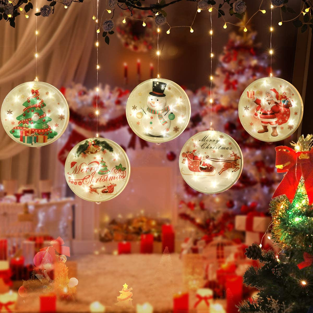 MILEXING Christmas String Lights, LED Christmas Decorations with 8 Flash Modes with 2 Charging Modes (Battery Charging-USB Charging) for Festival, Party, Indoor Outdoor Christmas Decor (Flashing)