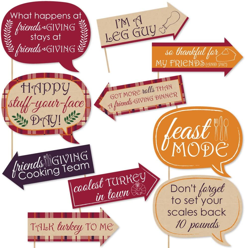 Big Dot of Happiness Funny Friends Thanksgiving Feast - Friendsgiving Photo Booth Props Kit - 10 Piece
