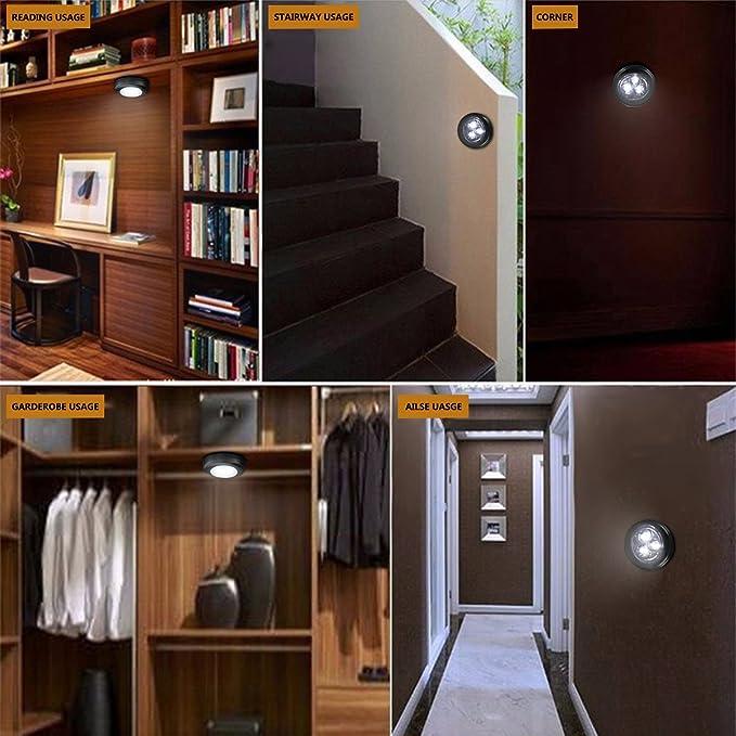 KINGSO 3 LED funciona con pilas palo en grifo plateado luz nocturna de pared armario de cocina color blanco adhesivo Touch lámpara de iluminación interior ...