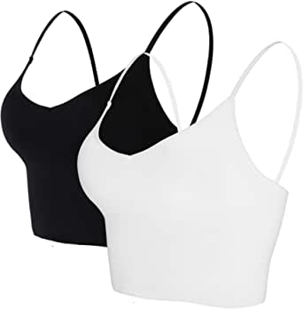 Seamless Sports Bra with Adjustable Elastic Strap, 2-Pieces Camisole Bandeau Crop Top Bra for Women.Nicytore