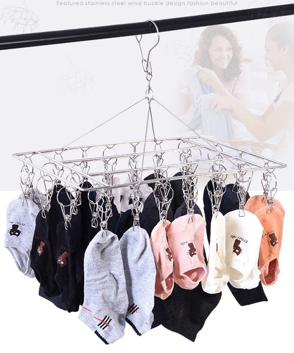 reggiseni vestiti per bambini gancio girevole Appendiabiti da stendino antivento per calzini biancheria intima 36 perni e 30 perni guanti Stendipanni in acciaio inox da 2 paia