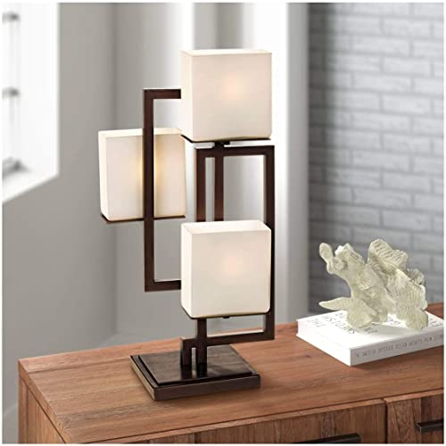 Lighting on The Square Modern Contemporary Table Lamp Roman Bronze Metal Geometric Opal Glass Square Shades