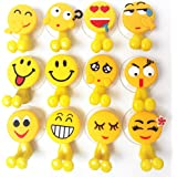 Cute Emoji Childrens Toothbrush Holder, Home and Bathroom Decoration ,Toiletries Accessories Organizers ,Office Cable Holder.(12 Sets)