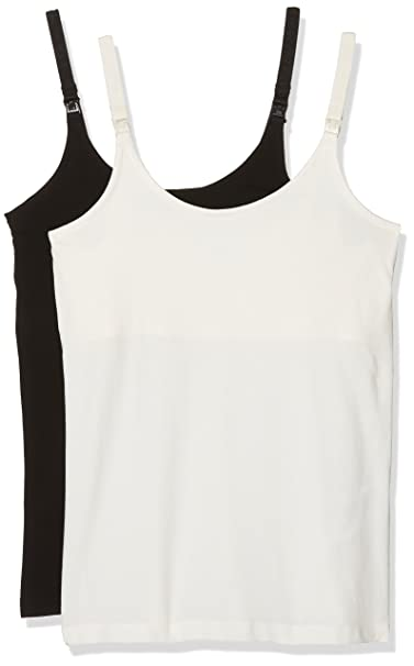 6766e79af6acd Mamalicious Women's Mlkea Org.Strap Top Nf 2 Pack Sleeveless Maternity Vest  Top: Amazon.co.uk: Clothing