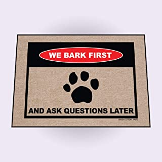 product image for HIGH COTTON We Bark First Doormat Funny Welcome Doormat
