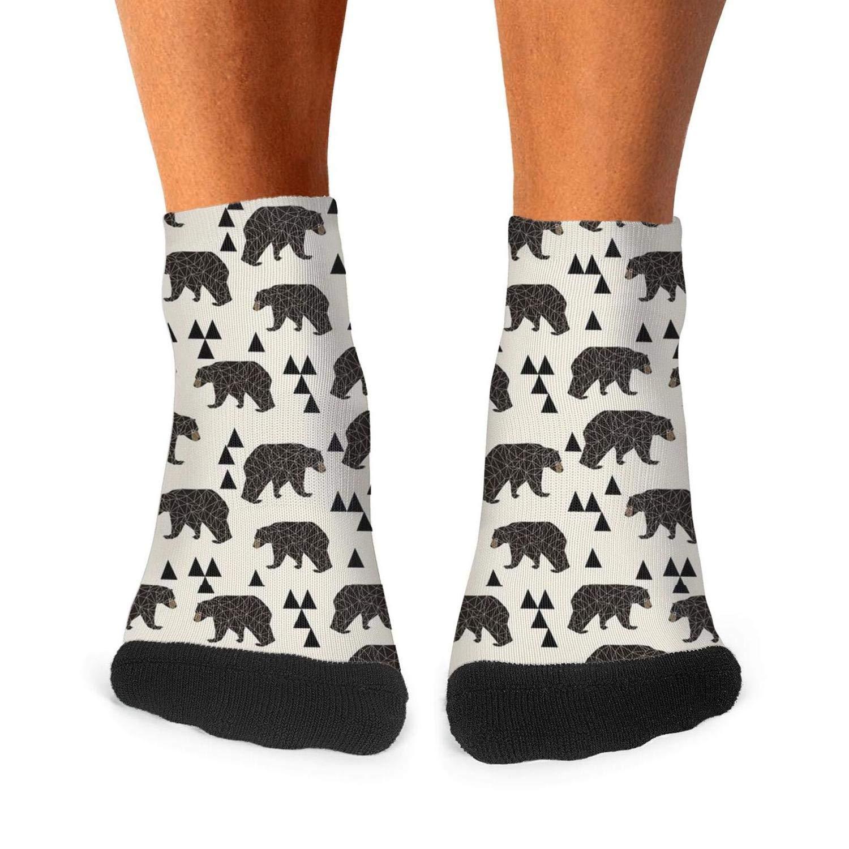 Mens Athletic Low Cut Ankle Sock Geo Bear Fabric Short Casual Sock