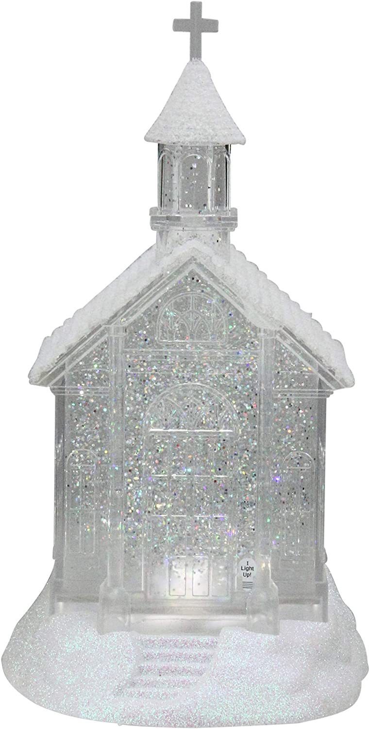 "Midwest Gloves 10.75"" LED Lighted Swirling Glitter Church Christmas Snow Globe Glitterdome"