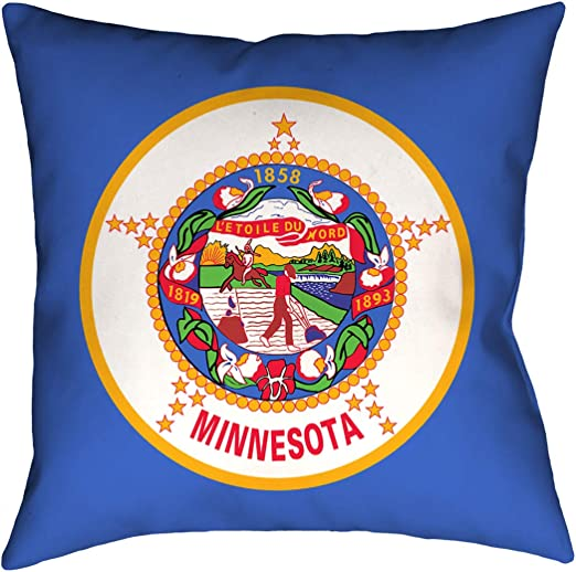 ArtVerse Katelyn Smith 26 x 26 Faux Suede Double Sided Print with Concealed Zipper /& Insert Minnesota Pillow