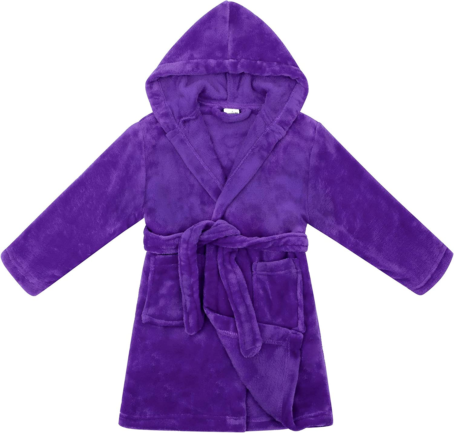 Boys Girls Bathrobes,Plush Soft Flannel Bathrobes Hooded Sleepwear for Kids