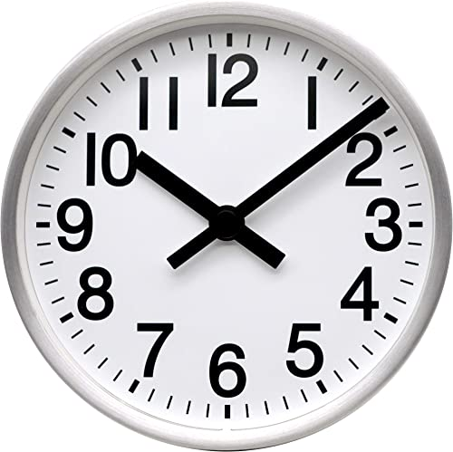 COMODO CASA Wall Desk Clock- Metal Brush-Silver Frame-Glass Cover-Non Ticking-Quartz Sweep-Silent 6 inch Retro Clock,White