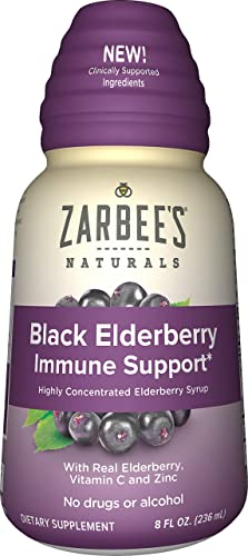 Zarbee s Naturals Black Elderberry Immune Support* Highly Concentrated Syrup with Real Elderberry, Vitamin C, Zinc, 8 oz Bottle