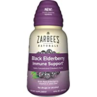 Zarbee's Naturals Black Elderberry Immune Support* Highly Concentrated Syrup with Real Elderberry, Vitamin C, & Zinc, 8 oz Bottle