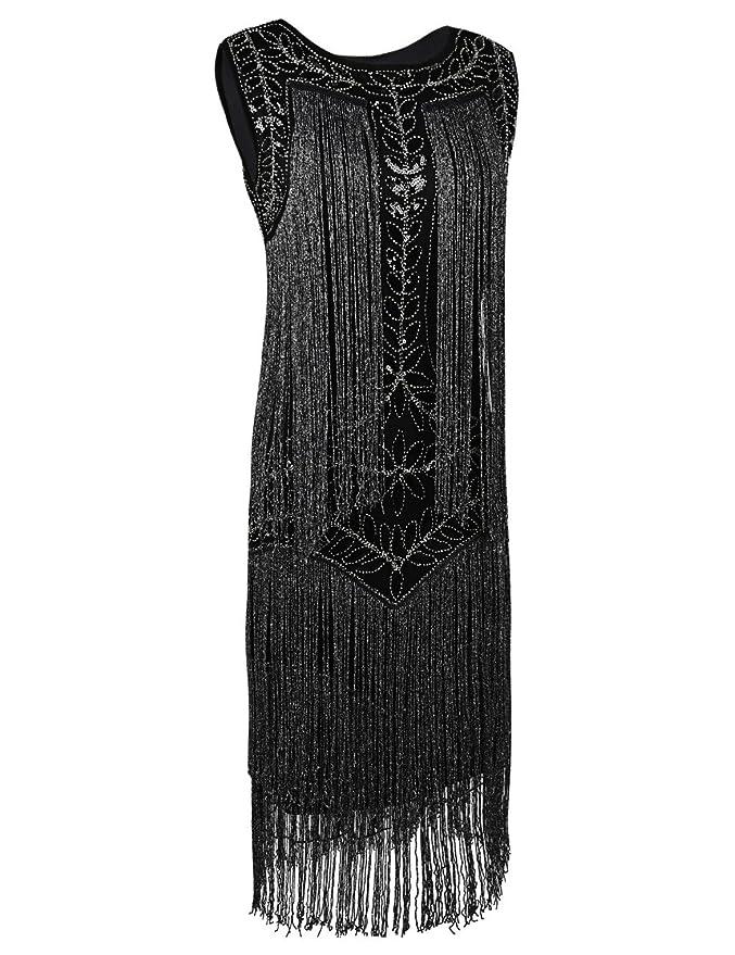 kayamiya Mujeres Vestido de Flapper 1920s Lentejuelas Borla ...