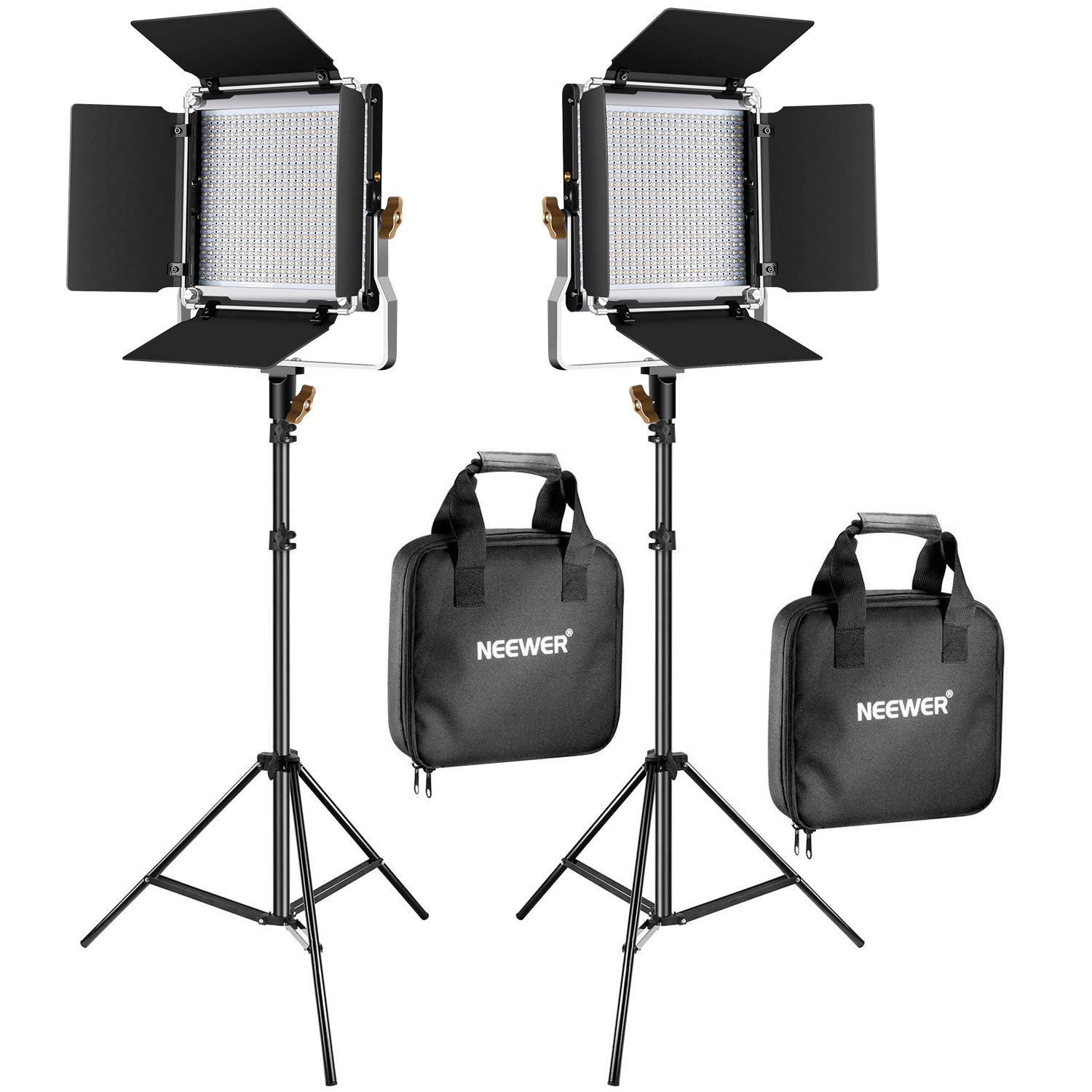 Neewer 2 Packs Upgraded 480 LED Video Light and Stand Photography Lighting Kit: Bi-Color Dimmable LED Panel with Barn Door and 200cm Heavy Duty Light Stand for Studio Portrait Product Video Shooting by Neewer