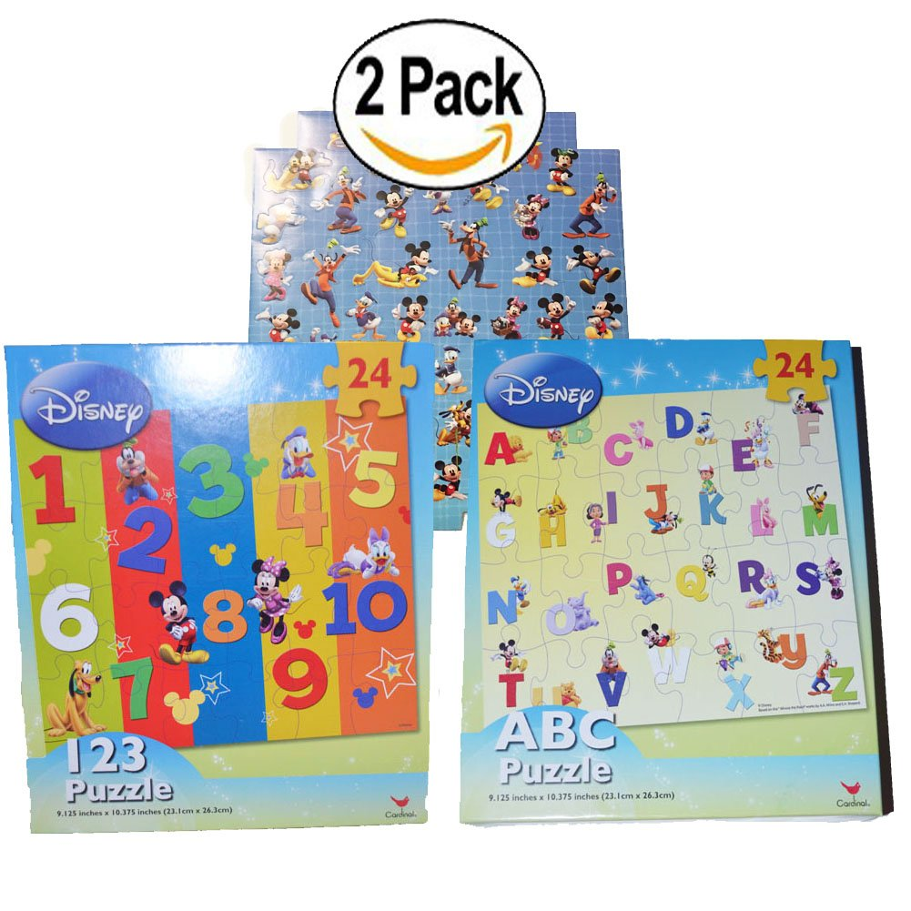 Mickey Mouse Minnie Mouse Puzzle ABC Number Learning Jigsaw Puzzle 2-Pack Cardinal
