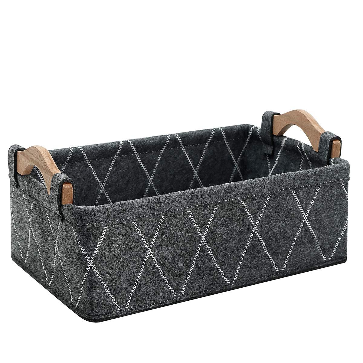 Small Baskets Fabric Bin Felt Empty Gift Basket Nursery Organizer for Makeup Cosmetics Underwear Socks Bra Collapsible Basket Home Decor