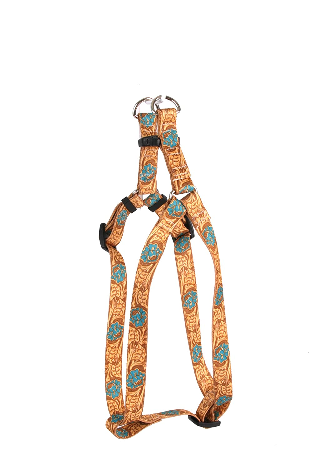 M Yellow Dog Design Step-in Harness, Medium, Leather pink Teal