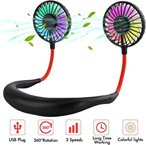 Neck Fan Portable - Hand Free Mini Personal Fan - 360°Rotation Hanging Neck Fan USB Rechargeable Cooling Device with 3 Speeds Adjustable LED Light for Home Sports Travel Outdoor Office (Black)