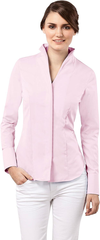Vincenzo Boretti Camisa de Mujer Elegante y clásica, Ligeramente más angosta (Modern-fit), 100% algodón, Manga-Larga, Cuello cáliz, Lisa - no Necesita Plancha