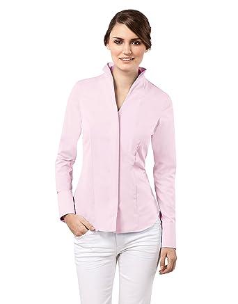 new product 5d01b e6560 Vincenzo Boretti Damen Bluse mit Kelchkragen tailliert 100% Baumwolle  bügelfrei Langarm Hemdbluse mit Stehkragen elegant festlich auch für  Business