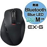 エレコム マウス Bluetooth (iOS対応) Mサイズ 5ボタン (戻る・進むボタン搭載) 静音 BlueLED 握りの極み ブラック M-XGM10BBSBK