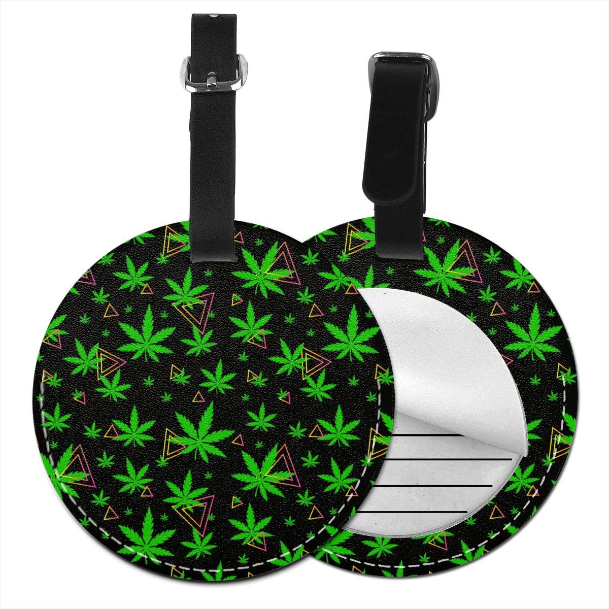 Green Weed Leather Round Luggage Tags Suitcase Labels Bag