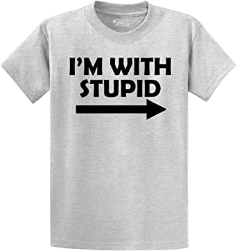 Funny Mens T Shirt I/'m With Stupid