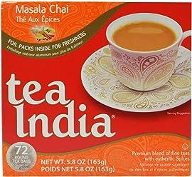 Tea India Masala Chai Tea, 72 Tagless Tea Bags, 5.8-Ounce Boxes (Pack of 6)