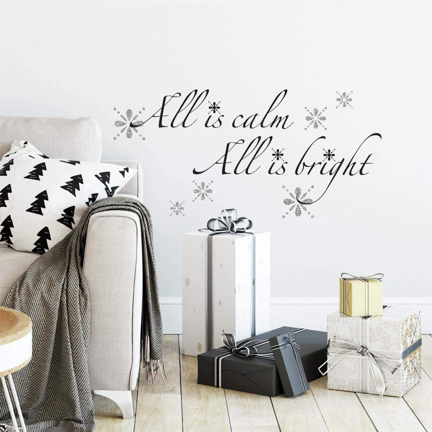 RoomMates All Is Calm, All Is Bright Quote Peel And Stick Wall Decals With Glitter