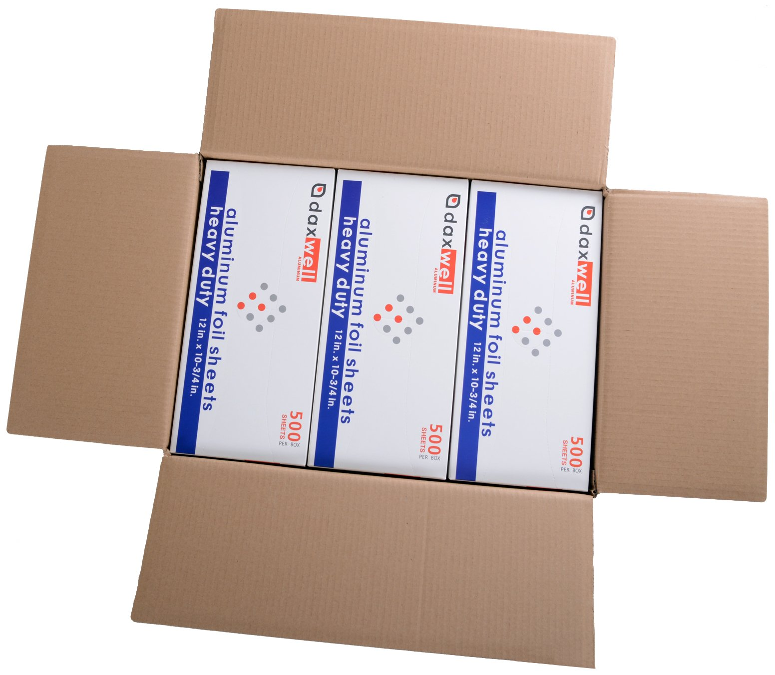 Daxwell Aluminum Heavy Duty Foil Interfolded Pop-Up Sheets, 12'' x 10-3/4'' (6 Boxes of 500 Sheets)