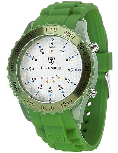 DeTomaso Spacy Timeline 2 - Reloj digital unisex, correa de silicona color verde, esfera blanca: Amazon.es: Relojes