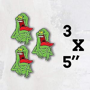 Ghostbusters Cartoon Funny Slimer Vinyl Sticker Art Decal Set of 3 Pieces - 5'' Longer Side
