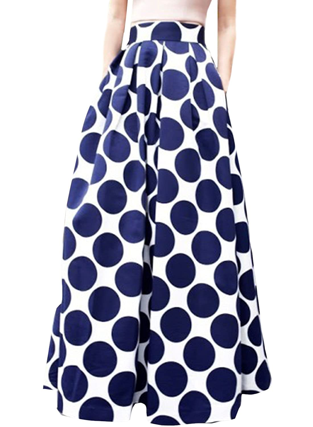 ACHICGIRL Women's Color Block Polka Dot Print High Waist Skirt