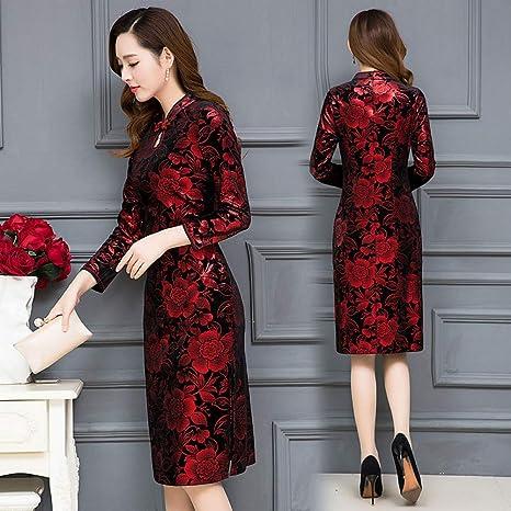 BINGQZ Vestido de Falda de la Cadera del Bolso Cheongsam ...