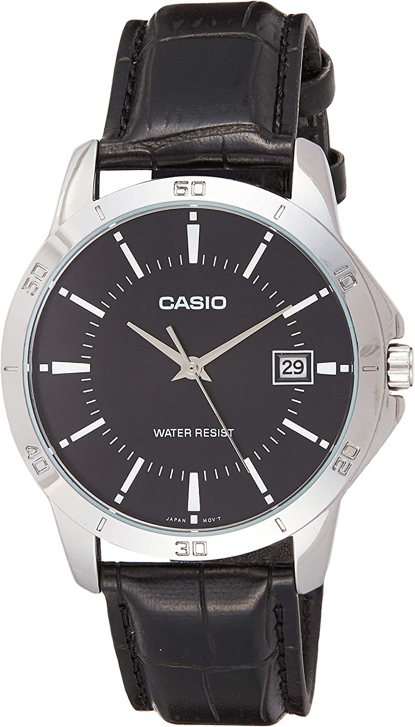 Casio Men s MTP-V004L-1A Date Quartz Watch with Genuine Leather