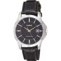 Casio Watch For Men Black Dial Leather Band - MTP-V004L-1A