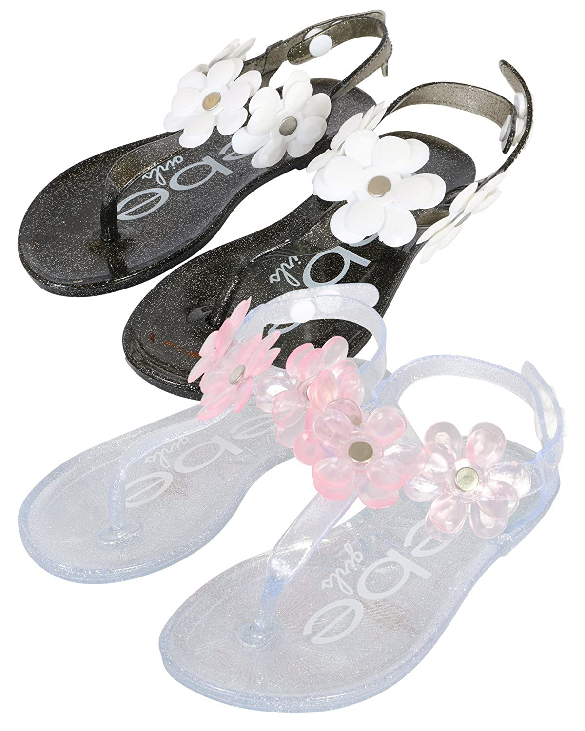 9ae15db2f99a bebe Girls Flower Thong Jelly Sandals - Set of 2 - Ankle Strap Open Toe  Flat Shoes (Toddler Little Kid)