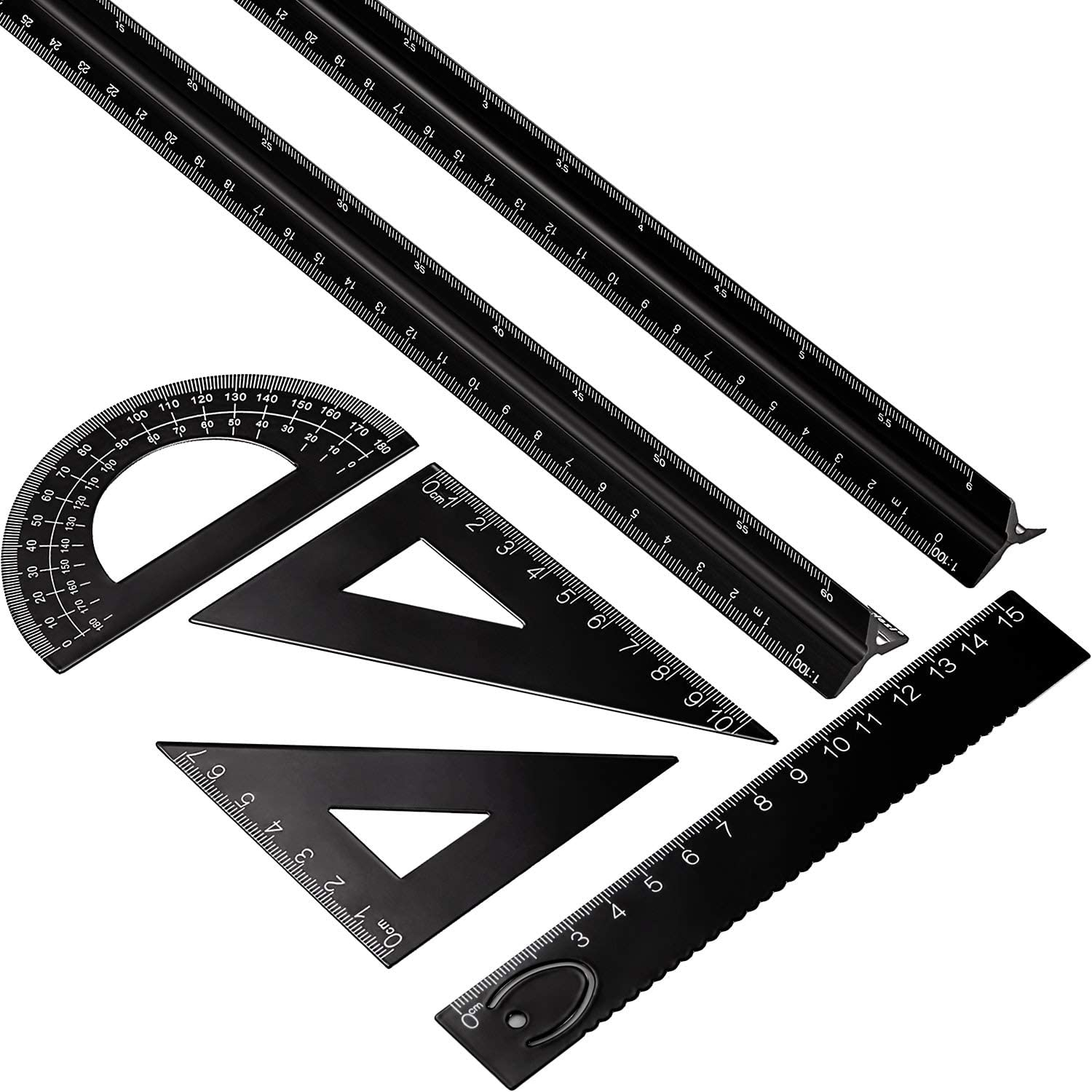 2 Pieces 12 Inch Aluminum Scale Ruler with 4 Pieces Aluminum Triangle Ruler Square Set for Students Metric 6 Pieces Aluminum Triangular Architect Scale Ruler Set Draftsman and Engineers Silver