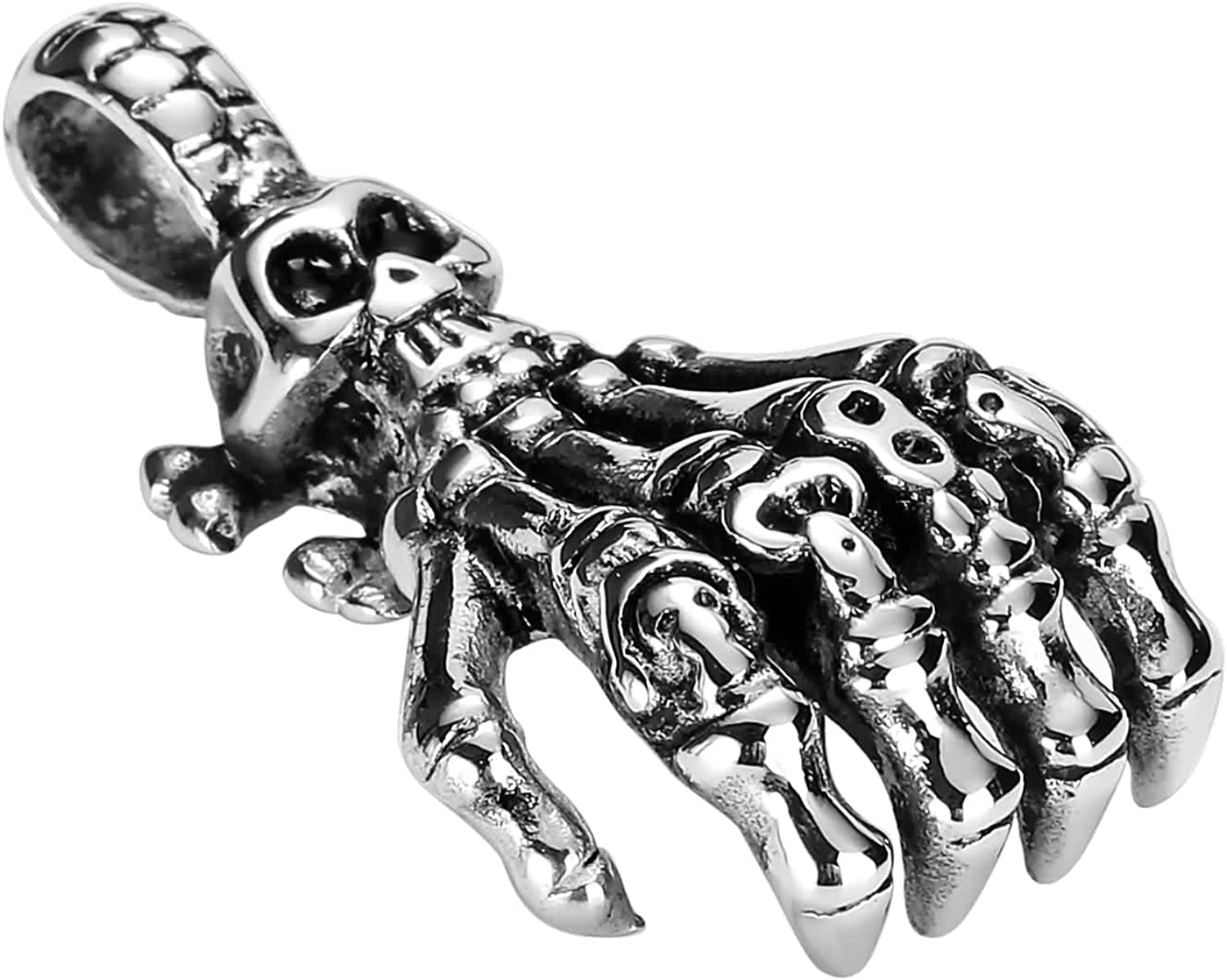 Aokarry Mens Skeleton Hand Pendant Necklace Hypoallergenic Stainless Steel Silver Black