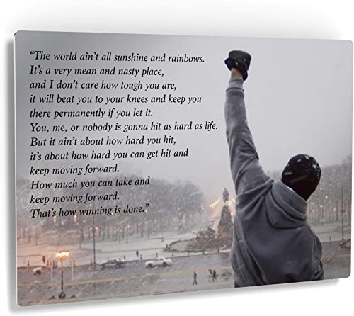 Smile Art Design Rocky Balboa Wall Art Speech Metal Print Motivational Quote Hope Artwork Boxing Sylvester Stallone Living Room Home Decoration Wall Art