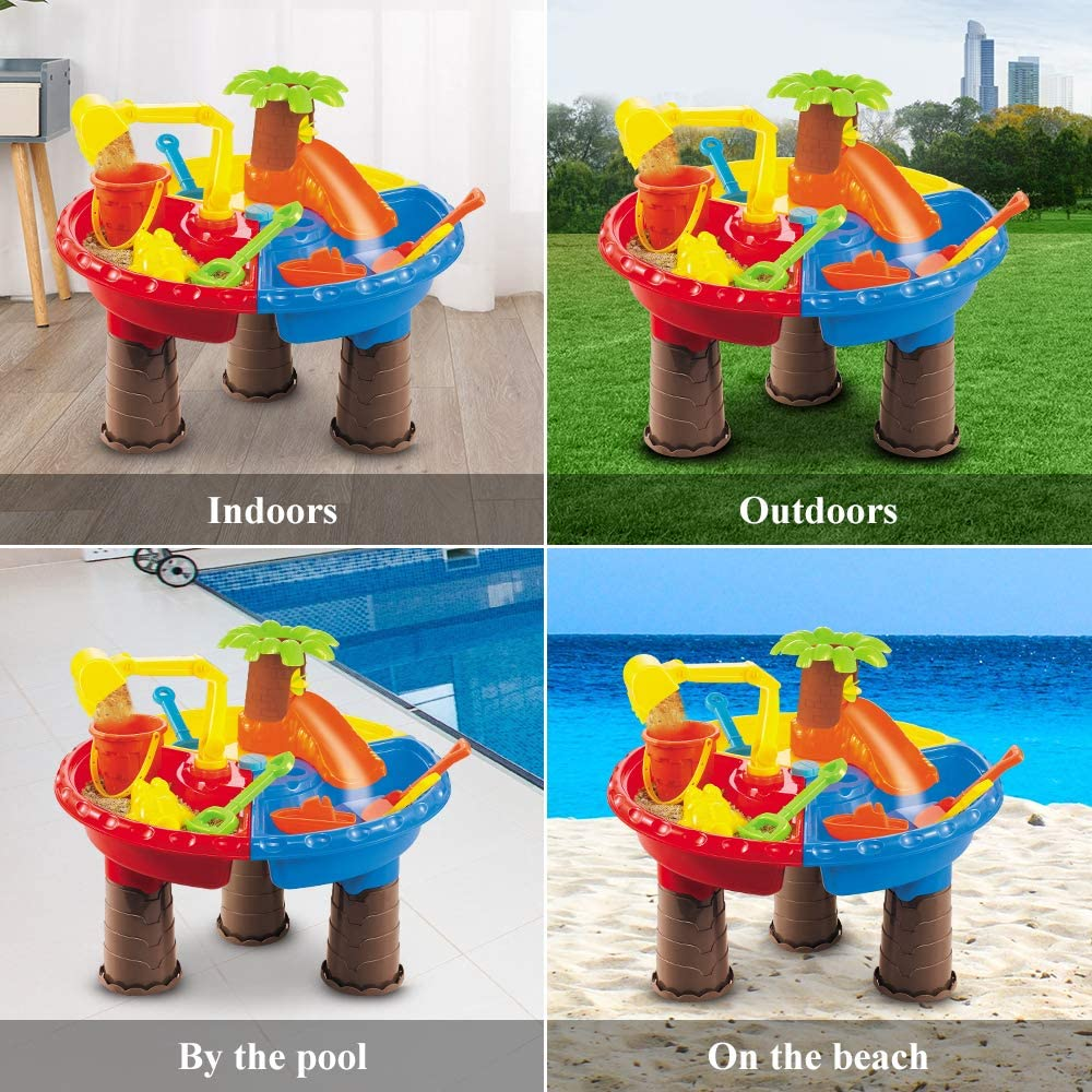 Outdoor Toys w// Tree Water Slide Temi Beach Sand Toys Set with Activity Sand Water Table Storage Sandbox Desk Play Set to Create Summer Fun Molds Shovel for Kids Boys and Girls Round Bucket
