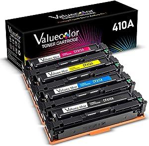 Valuecolor Compatible Toner Cartridge Replacement for HP 410A CF410A CF411A CF412A CF413A Used in Color Laserjet Pro MFP 477fdw M477fdn M477fnw M477 M452dn M452dw M452nw M452 M377dw (4-Pack)