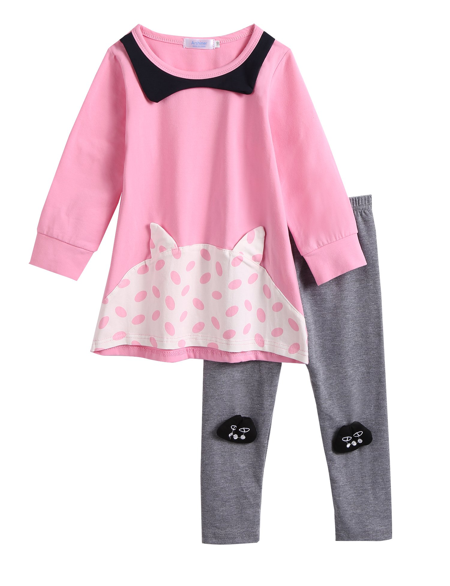Arshiner Little Girls Toddler Kids Soft Comfy Sleepwear Pajamas Sets Cotton Pjs 2PCS Tops and Pants