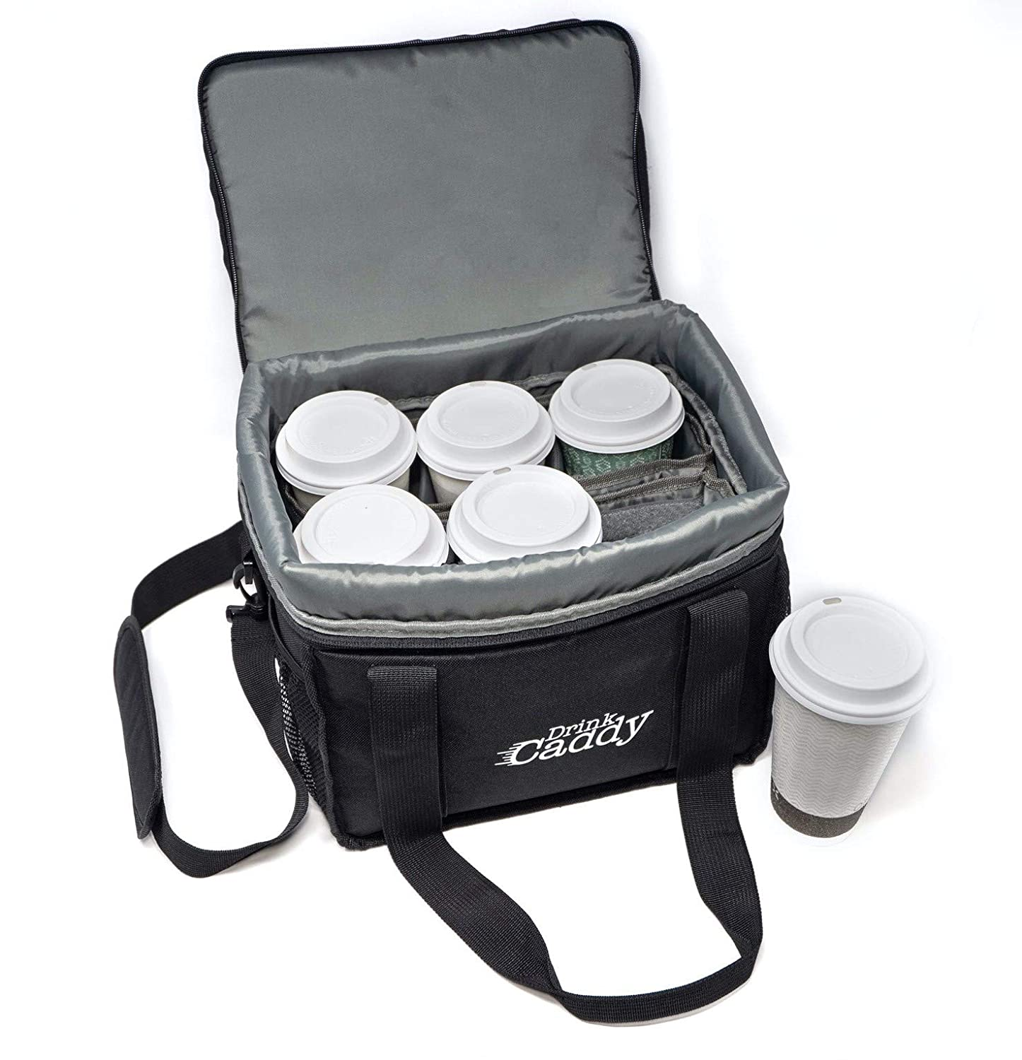 Drink Caddy Insulated Portable Drink Carrier - Reusable Coffee Cup Holder with Shoulder Strap Perfect for Food Delivery and Takeout - Easily Secures 6 Hot or Cold Beverages with adjustable height Zipper Closure.