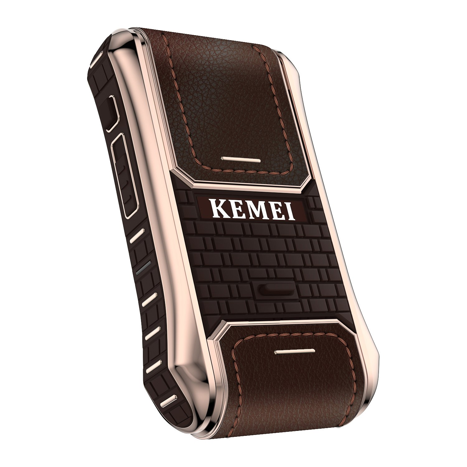 Kemei 2 in 1 Men Electric Shaver Leather Case Reciprocating Electric Shaver Rechargeable Cordless Razor Vintage km-5300 Brown