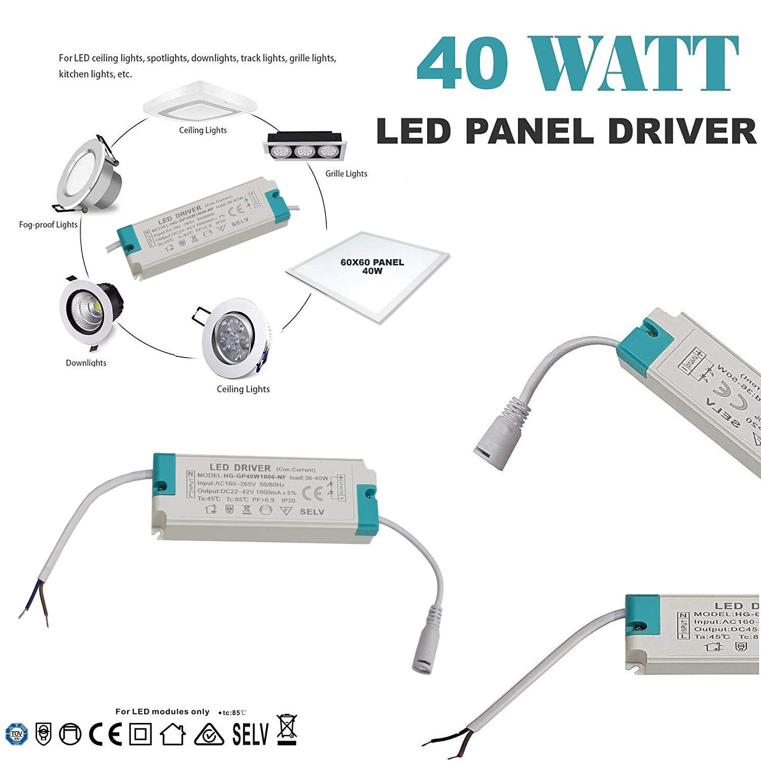 40W LED 60x60 Light Power Driver Transformer DC22-42V AC160-265V Panel Light Power Supply 60x60 LED Panel Light Transformer Driver Delled