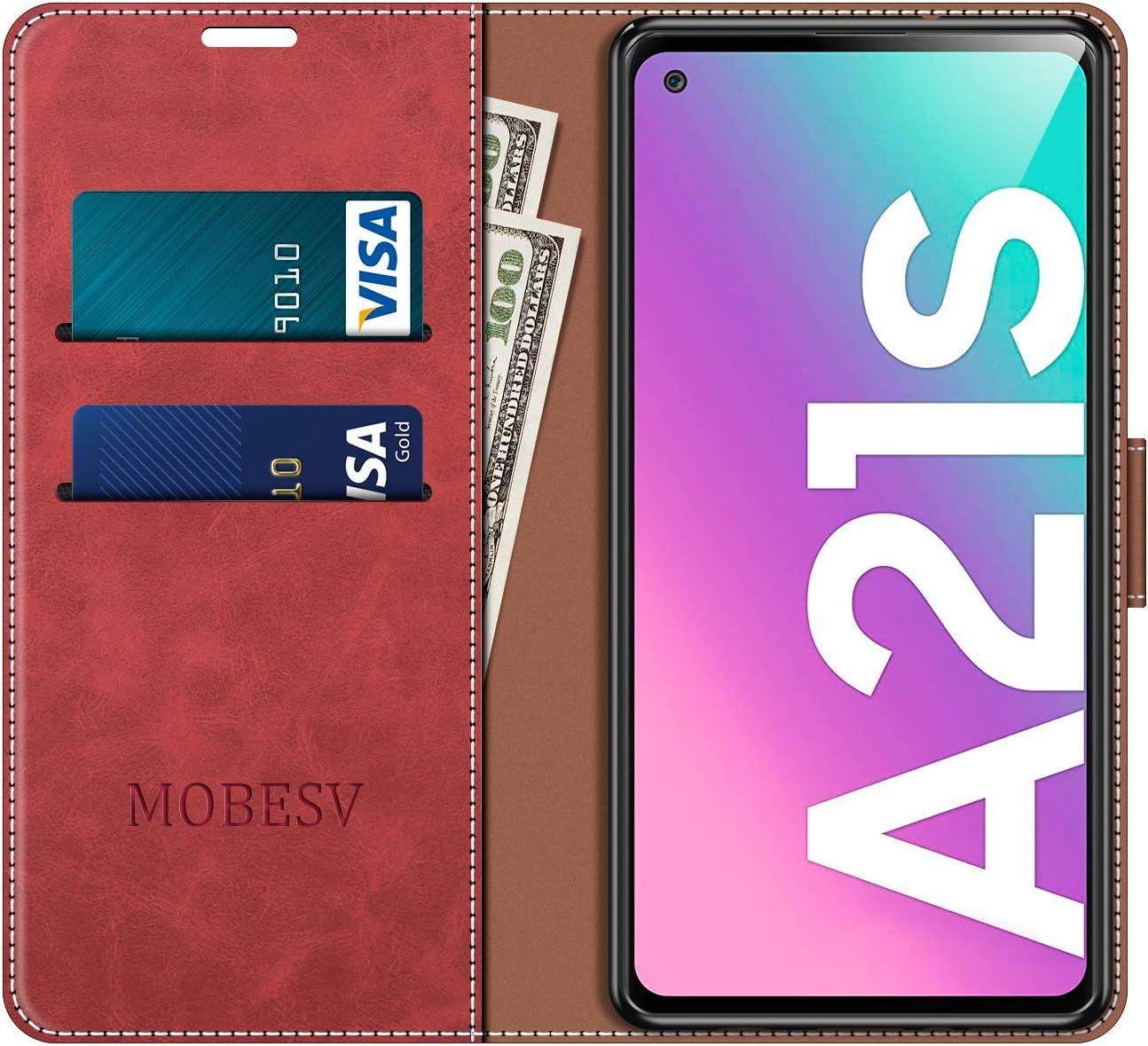 MOBESV Handyh/ülle f/ür Samsung Galaxy A21s H/ülle Leder Modisch Rot Samsung Galaxy A21s Klapph/ülle Handytasche Case f/ür Samsung Galaxy A21s Handy H/üllen